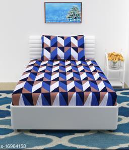 JSC 100% Cotton Single Bedsheet with 1 Pillow Cover Blue