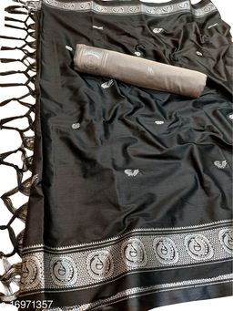 PM Traditional Paithani Silk Sarees With Contrast Blouse Piece (Mor Black & Silver)