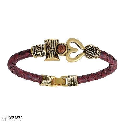 OM TRISHUL Gold Trishul Leather Fashionable Latest Men Jewellery With Rudraksha