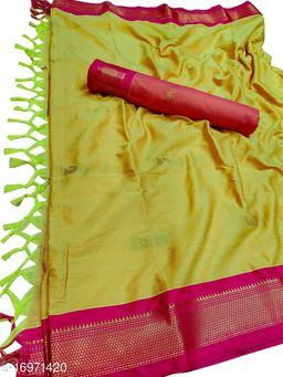 MH Traditional Paithani Silk Sarees With Contrast Blouse Piece (Gold Yellow & Pink)