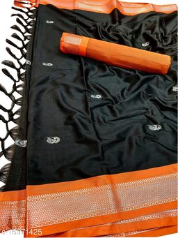 MH Traditional Paithani Silk Sarees With Contrast Blouse Piece (Black & Silver Orange)
