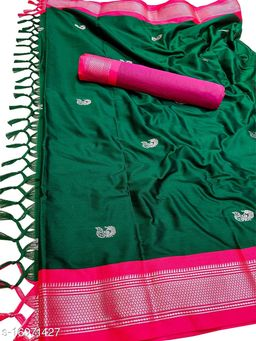 MH Traditional Paithani Silk Sarees With Contrast Blouse Piece (Bottle Green & Silver Pink)