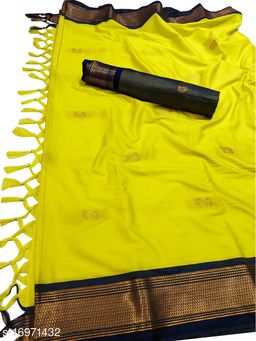 MH Traditional Paithani Silk Sarees With Contrast Blouse Piece (Neon Yellow & Navy)
