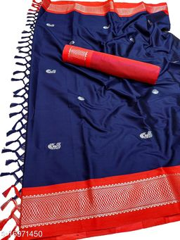 MH Traditional Paithani Silk Sarees With Contrast Blouse Piece (3D Navy & Silver Red)