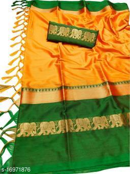 Rajawadi Elegant Elephant Design Cotton Silk Saree (Mango & Green)