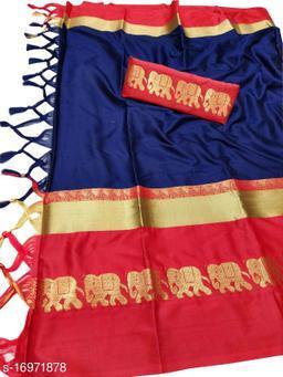 Rajawadi Elegant Elephant Design Cotton Silk Saree (Navy & Red)