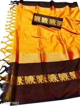 Rajawadi Elegant Elephant Design Cotton Silk Saree (Mango & Brown)