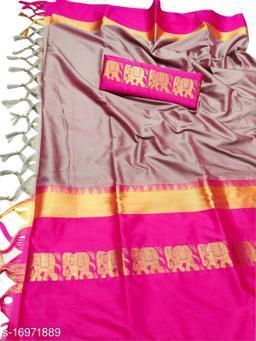 Rajawadi Elegant Elephant Design Cotton Silk Saree (Baby Pink & Pink)