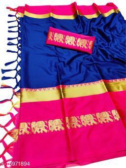 Rajawadi Elegant Elephant Design Cotton Silk Saree (Royal Blue & Pink)