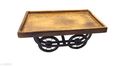 Mango Wooden Handmade Reda Tray on Wheels
