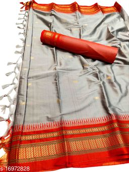 Hirkal Traditional Paithani Silk Sarees With Contrast Blouse Piece (Grey & Red)