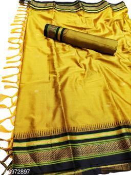 Hirkal Traditional Paithani Silk Sarees With Contrast Blouse Piece (Mustard & Black)