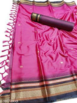 Hirkal Traditional Paithani Silk Sarees With Contrast Blouse Piece (Creamson Pink & Black)