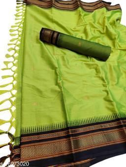 Hirkal Traditional Paithani Silk Sarees With Contrast Blouse Piece (Parrot & Black)