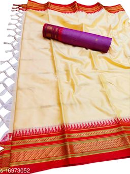 Hirkal Traditional Paithani Silk Sarees With Contrast Blouse Piece (Pearl White & Red)