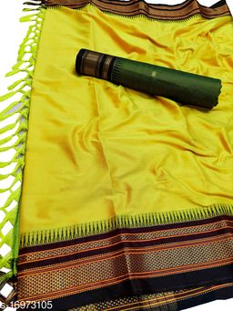 Hirkal Traditional Paithani Silk Sarees With Contrast Blouse Piece (Yellow & Black)