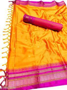 Hirkal Traditional Paithani Silk Sarees With Contrast Blouse Piece (Mango & Pink)