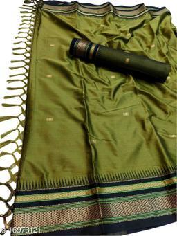 Hirkal Traditional Paithani Silk Sarees With Contrast Blouse Piece (Mahendi & Black)
