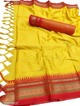 Hirkal Traditional Paithani Silk Sarees With Contrast Blouse Piece (Yellow & Red)