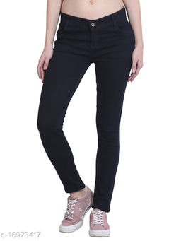 Women Carbon Blue Super Skinny Fit Mid-Rise Clean Look Stretchable Jeans