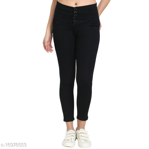 Black, 5 Button, Womens High Rise Slim Fit, Silky Denim Stretchable Jeans