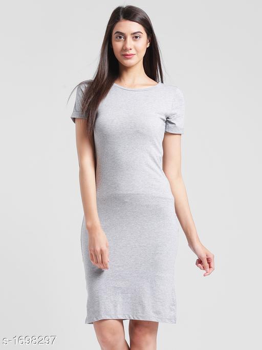 Women's Solid T-Shirt Cotton Dress