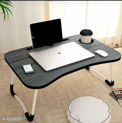 Smart Multi Purpose Laptop TableWith Dock Stand/Study Table/Bed Table/ Foldable And Portable/Rounded Edges/ Non-Slip Legs (Wooden)
