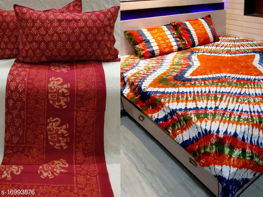 Combo Of 2 Pieces Tie and Dye And Barmeri Print Pure Cotton Handblock Printed Double Bed Bedsheet With 4 Stitched Pillow Cover