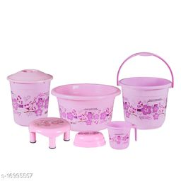 6 Pieces Plastic Bathroom Set Pink