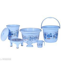 6 Pieces Plastic Bathroom Set Blue