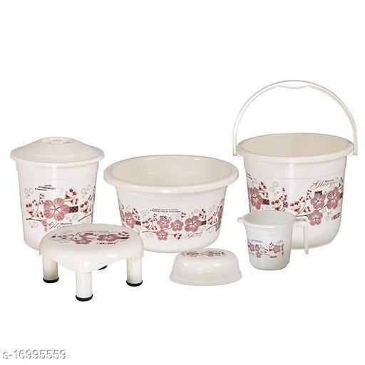 6 Pieces Plastic Bathroom Set Ivory