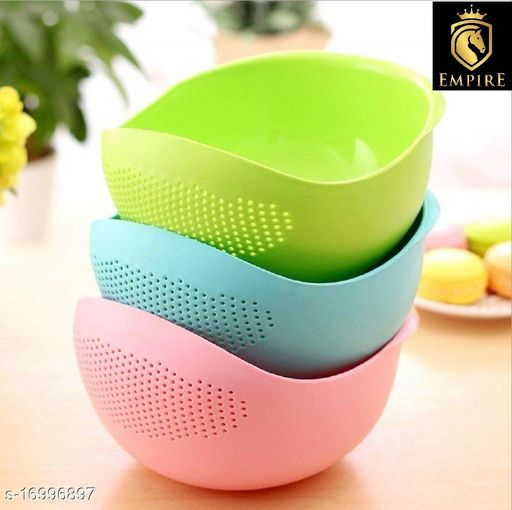 3 PIS IN 1 PACK Rice Bowl Fruits, Vegetable, Noodles, Pasta Washing Bowl and Strainer for Storing and Straining (Multi Colour)