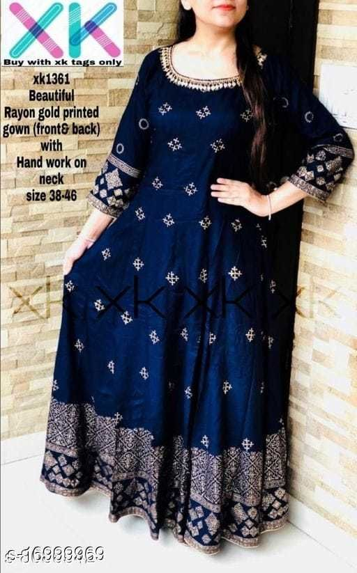 RAYON BEAUTIFUL GOLD PRINTED & PREETY  HAND WORK GOWN