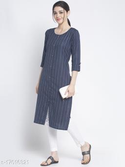 Women Cotton Straight Stripe Kurti