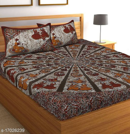 Cotton Jaipuri Double Bed Bedsheet with 2 Pillow Cover