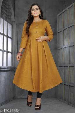 Women Cotton Anarkali Solid Mustard Kurti