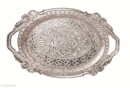 RANIC Premium Plastic Round Shape Beautifully Decorated Art Plate/Tray for Wedding/Navratri/dussehra/Christmas/Pongal/Sankranti (Silver, Medium)
