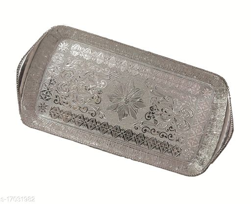 RANIC Premium Plastic Square Shape Beautifully Decorated Art Plate/Tray for Wedding/Navratri/dussehra/Christmas/Pongal/Sankranti (Silver, Medium)