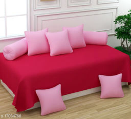 Glace Cotton Diwan Set Covers 8 Pcs Set of 1 Bedsheet 2 Bolsters and 5 Cushion Covers Red Pink