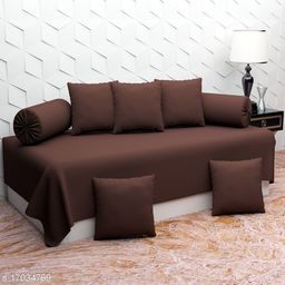 Glace Cotton Diwan Set Covers 8 Pcs Set of 1 Bedsheet 2 Bolsters and 5 Cushion Covers Brown