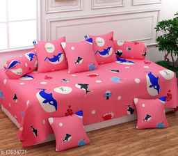 Glace Cotton Diwan Set Covers 8 Pcs Set of 1 Bedsheet 2 Bolsters and 5 Cushion Covers Pink
