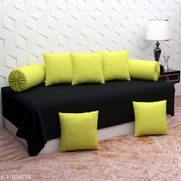 Glace Cotton Diwan Set Covers 8 Pcs Set of 1 Bedsheet 2 Bolsters and 5 Cushion Covers Green Black