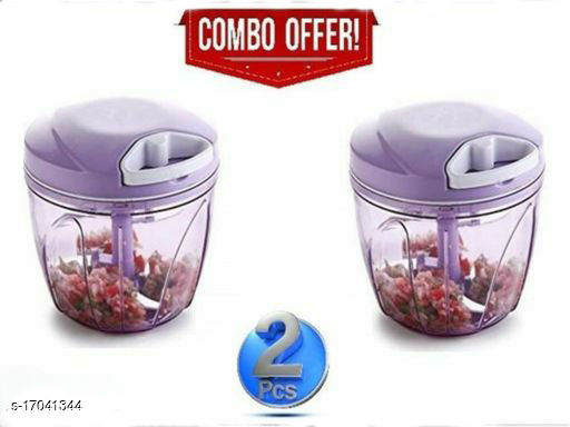 Meera Product Combo 900ml Big Purple Vegetable Chopper and Fruit Chopper with 5 Stainless Steel Blade and Whisker (Purple) (Pack of 2)