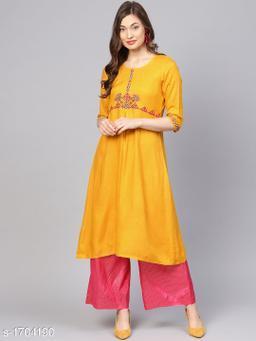 Women Viscose Rayon A-line Embroidered Yellow Kurti