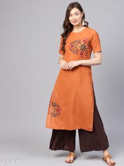 Women Cotton A-line Embroidered Orange Kurti
