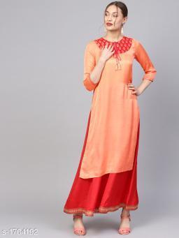 Women Satin A-line Printed Orange Kurti