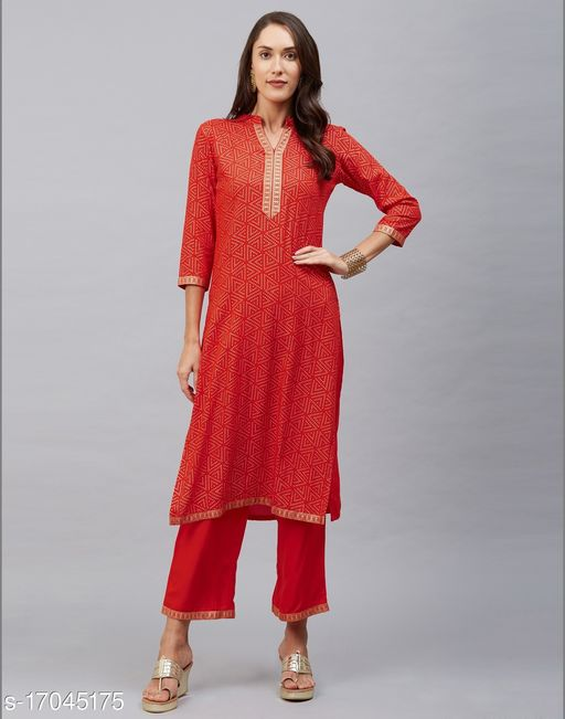 Rayon Foil Print Laced Red Color Palazzo