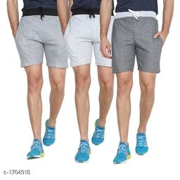 Casual Cotton Blend Solid Shorts ( Pack Of 3 )