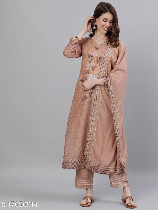 Ishin Women's Silk Brown Zari Embroidered A-Line Kurta Trouser Dupatta Set
