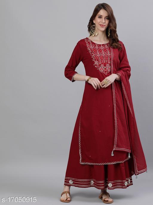Ishin Women's Maroon Embroidered A-Line Kurta Sharara Dupatta Set